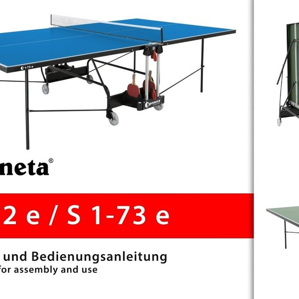 Sponeta S 1-72 e / S 1-73 e - Montageanleitung Tischtennistisch / Instructions for assembly and use